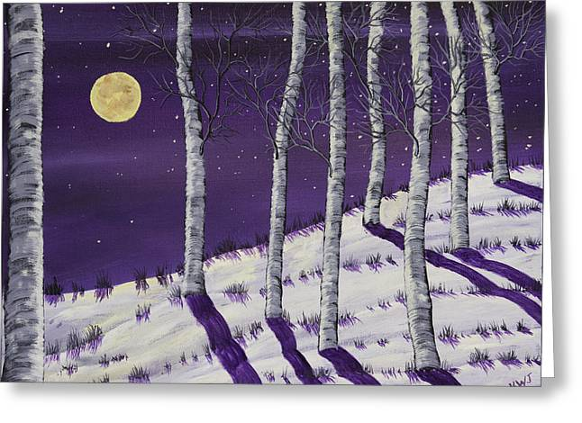 Snowy Night Night Greeting Cards - Winter Full Moon and Birch Trees  Painting Greeting Card by Keith Webber Jr