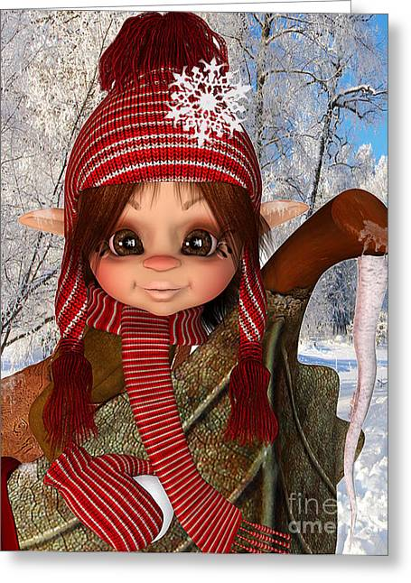 Striped Scarf Greeting Cards - Winter Fun Greeting Card by Cheryl Young