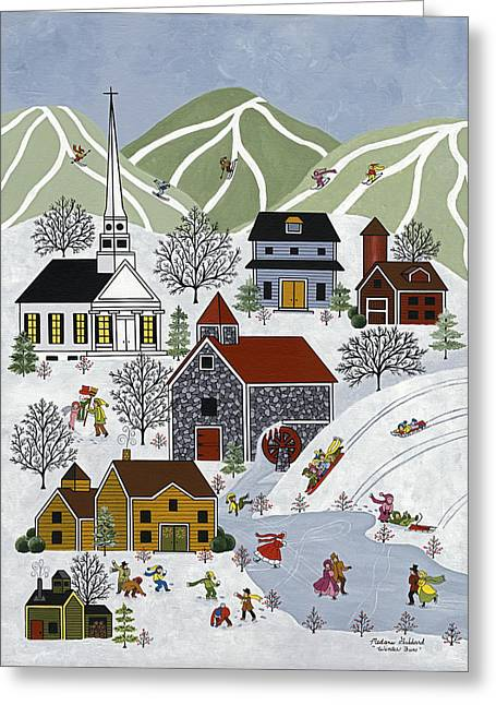 Skiing Prints Paintings Greeting Cards - Winter Fun Greeting Card by Medana Gabbard