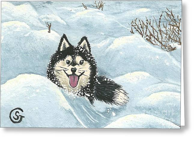 Husky Greeting Cards - Winter Games -- Husky Style Greeting Card by Sherry Goeben