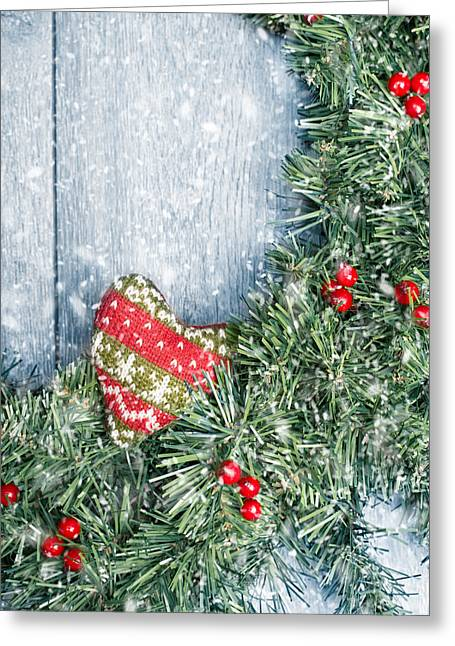 Christmas Doors Greeting Cards - Winter Garland Greeting Card by Amanda And Christopher Elwell