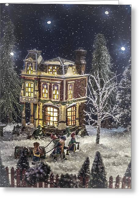 Christmas Village Greeting Cards - Winter Glow Greeting Card by Caitlyn  Grasso