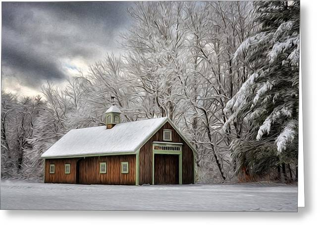 Barn Door Greeting Cards - Winter Glow Greeting Card by Tricia Marchlik