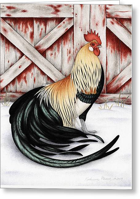 Barn Drawings Greeting Cards - Winter Gold Greeting Card by Katherine Plumer