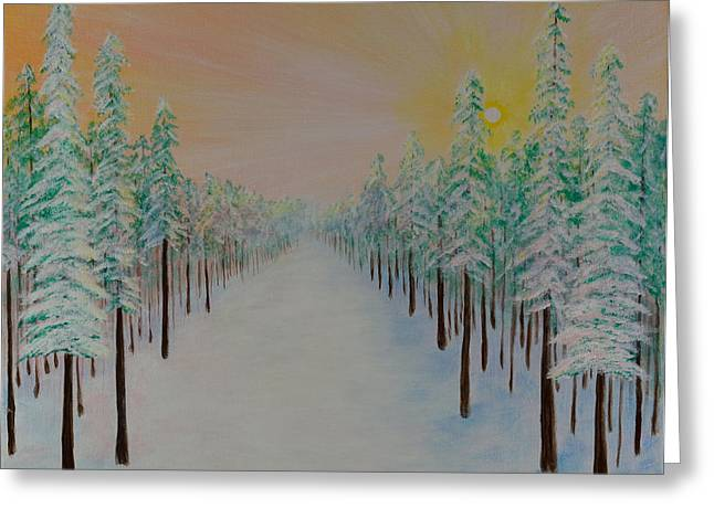 Winter Promise Greeting Cards - Winter Golw Greeting Card by Elizabeth Golden