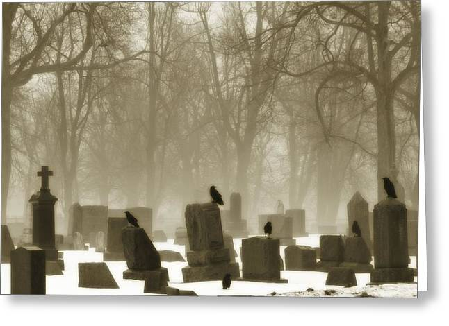 Ravens In Graveyard Greeting Cards - Winter Graveyard Crows Greeting Card by Gothicolors Donna Snyder