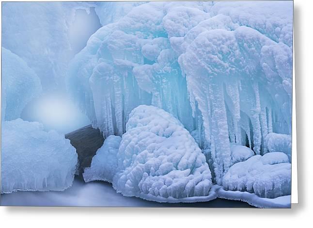 Beautiful Creek Greeting Cards - Winter Gull Creek Casade Greeting Card by Dean Pennala
