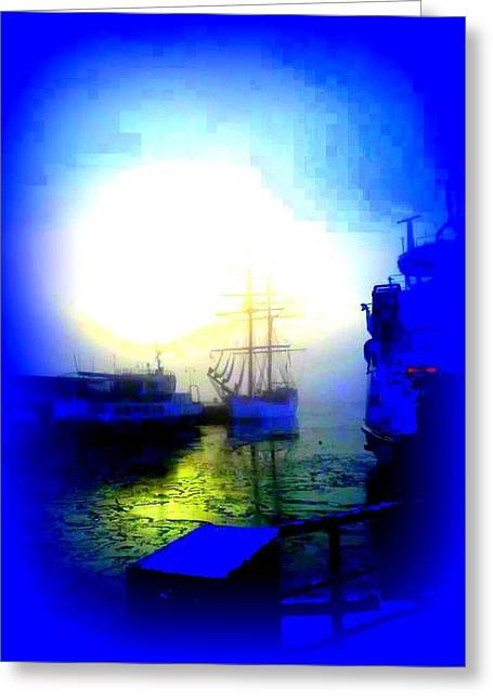 Oxytocin Greeting Cards - Winter harbour Greeting Card by Hilde Widerberg