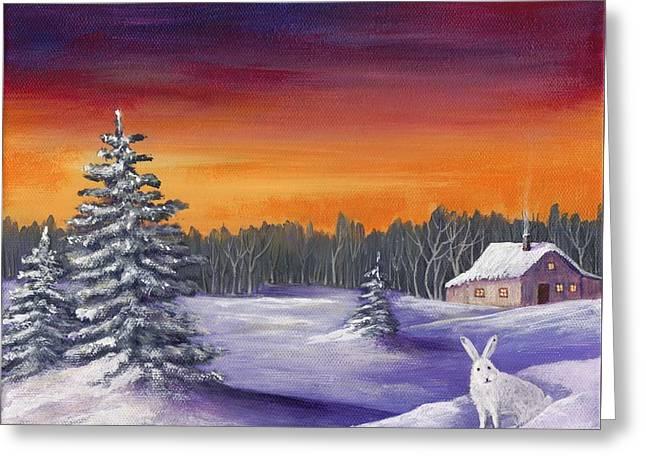 Snowy Evening Greeting Cards - Winter Hare Visit Greeting Card by Anastasiya Malakhova