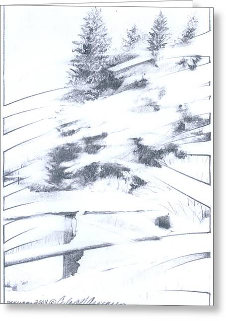 Winter Storm Drawings Greeting Cards - Winter Harvest Greeting Card by Ceilon Aspensen