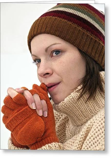 Hand-knitted Greeting Cards - Winter hat and gloves Greeting Card by Science Photo Library