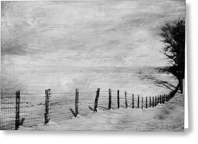 Fence Row Greeting Cards - Winter Haze Greeting Card by Kathy Jennings