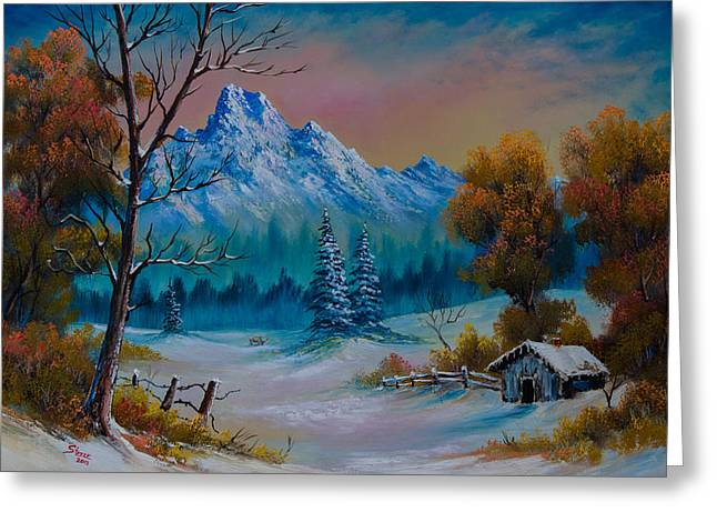 Bob Ross Paintings Greeting Cards - Winter Den Greeting Card by C Steele