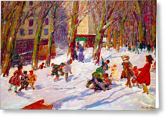 Winter In The City Greeting Cards - Winter High Bridge Park Greeting Card by George Benjamin Luks
