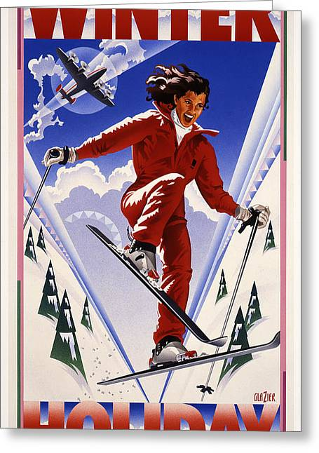 Skiing Posters Digital Art Greeting Cards - Winter Holiday Greeting Card by Garth Glazier