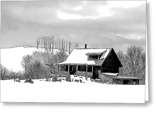 Snowstorm Drawings Greeting Cards - Winter Home Greeting Card by John Haldane