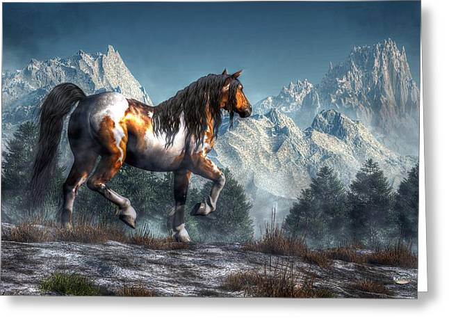 Spotted Horse Greeting Cards - Winter Horse Greeting Card by Daniel Eskridge