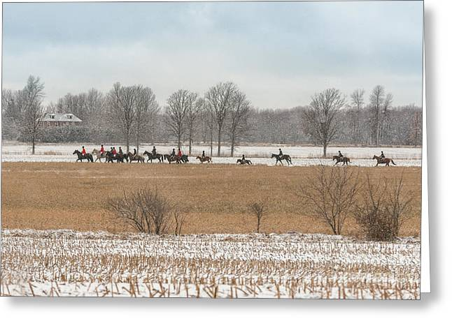Foxhunting Greeting Cards - Winter Hunt Greeting Card by Heather Swan