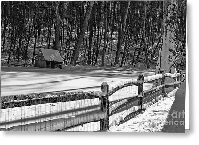 Snow Scene Landscape Greeting Cards - Winter Hut in Black and White Greeting Card by Paul Ward