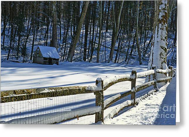 Snow Scene Landscape Greeting Cards - Winter Hut Greeting Card by Paul Ward