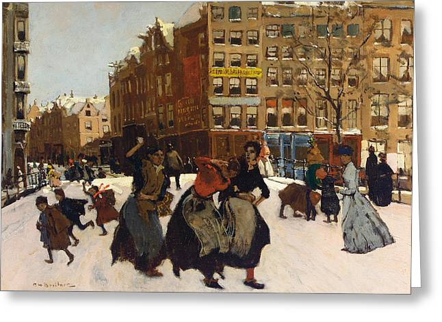 Winter Fun Paintings Greeting Cards - Winter in Amsterdam Greeting Card by Georg Hendrik Breitner