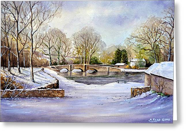 Snow Scene Mixed Media Greeting Cards - Winter In Ashford Greeting Card by Andrew Read