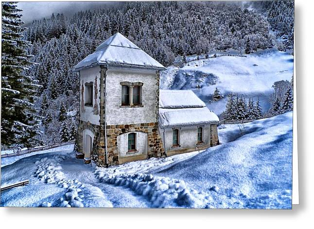 Cabin Wall Greeting Cards - Winter in Austria Greeting Card by Movie Poster Prints