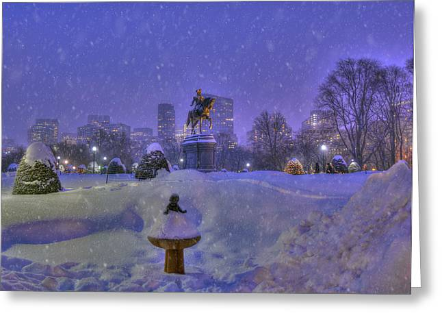 New England Snow Scene Greeting Cards - Winter in Boston - George Washington Monument - Boston Public Garden Greeting Card by Joann Vitali