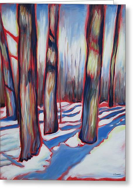 Kitchener Paintings Greeting Cards - Winter in Breithaupt Park Greeting Card by Sheila Diemert