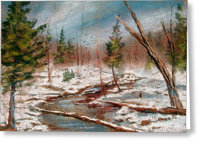 Etc. Pastels Greeting Cards - Winter in Canane Greeting Card by Bruce Schrader