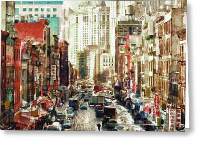 Winter Digital Photo Scene Greeting Cards - Winter in China Town - New York Greeting Card by Marian Voicu