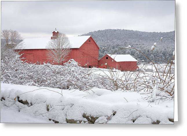 Old Barns Greeting Cards - Winter in Connecticut square Greeting Card by Bill  Wakeley