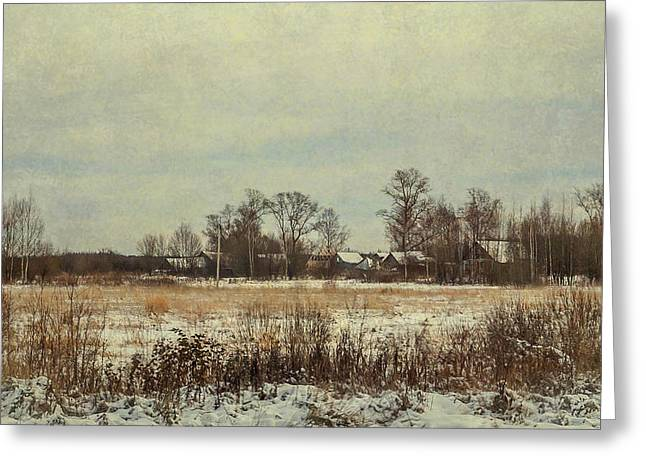 Winter Day Greeting Cards - Winter in Countryside Greeting Card by Jenny Rainbow
