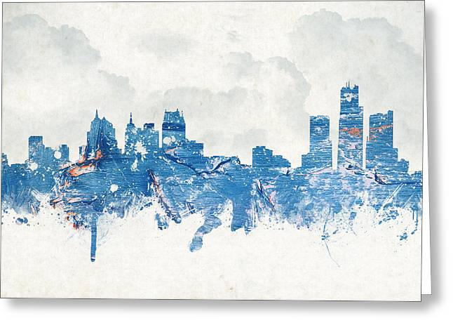Historic Building Mixed Media Greeting Cards - Winter in Detroit Michigan USA Greeting Card by Aged Pixel