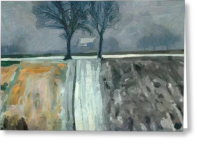 Limburg Digital Greeting Cards - Winter in Elkenrade Greeting Card by Nop Briex