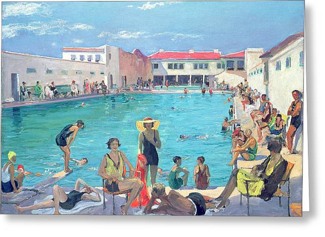 Swimmers Photographs Greeting Cards - Winter In Florida Oil On Canvas Greeting Card by Sir John Lavery