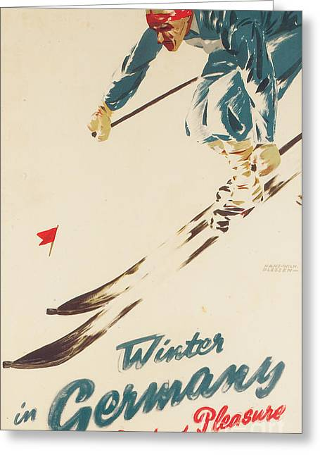 Skiing Poster Greeting Cards - Winter in Germany Greeting Card by H Plessen
