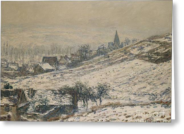 Wintry Greeting Cards - Winter in Giverny Greeting Card by Claude Monet