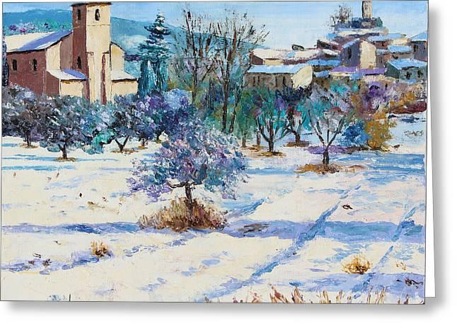 Winter In Lourmarin Greeting Card by Jean-Marc Janiaczyk