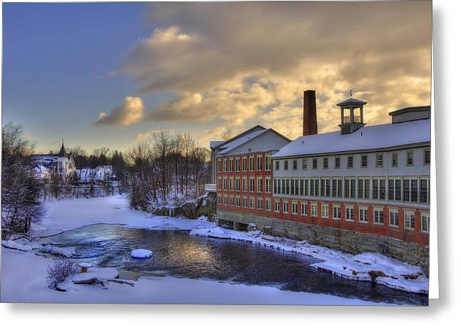 New England Snow Scene Greeting Cards - Winter in Milford New Hampshire Greeting Card by Joann Vitali