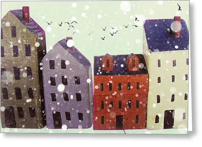 Child Toy Greeting Cards - Winter in Nantucket Greeting Card by Amy Tyler