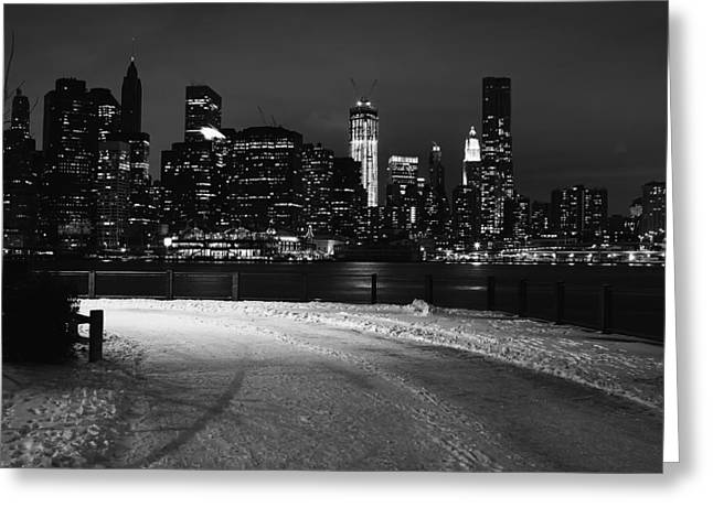 Snow And Night Sky Greeting Cards - Winter in New York City Greeting Card by Mountain Dreams