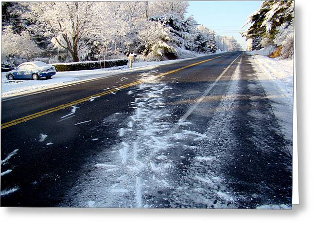 Winter Roads Mixed Media Greeting Cards - winter in  New York Greeting Card by Dennis Dugan