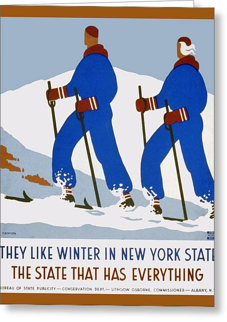 Skiing Poster Greeting Cards - Winter In New York State Greeting Card by Unknown