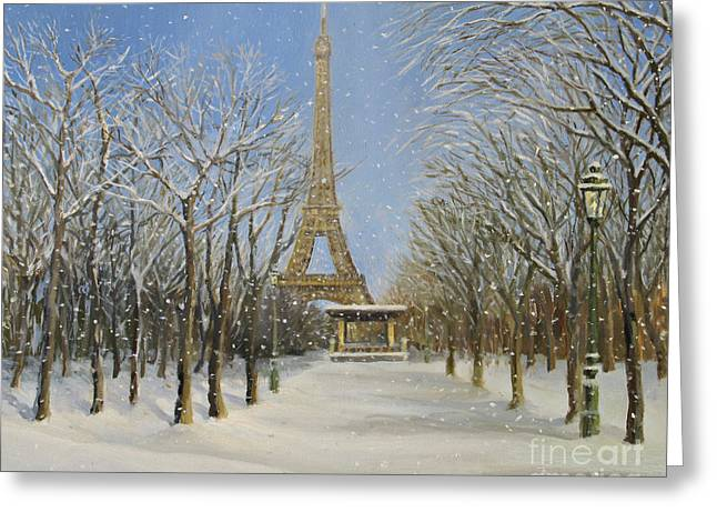 Urban Images Paintings Greeting Cards - Winter In Paris Greeting Card by Kiril Stanchev