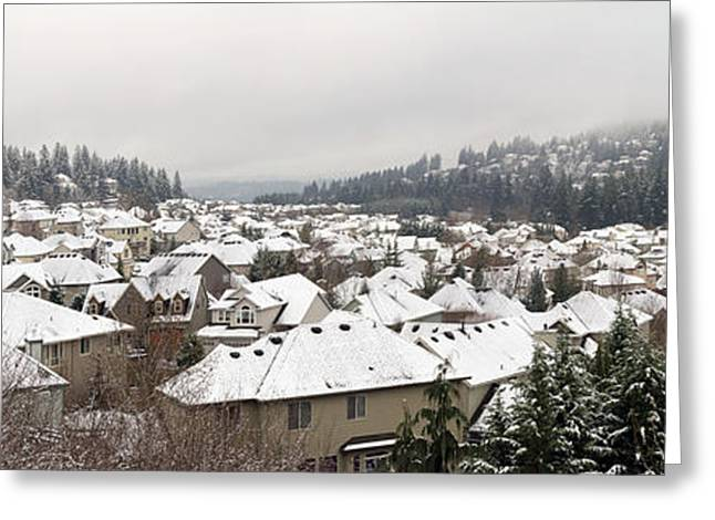 Division Greeting Cards - Winter in Residential Suburban City Greeting Card by JPLDesigns