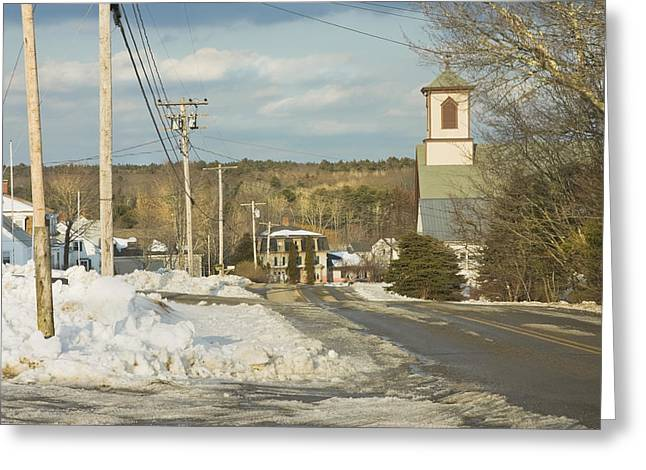 New England Village Scene Greeting Cards - Winter In Round Pond Maine Greeting Card by Keith Webber Jr