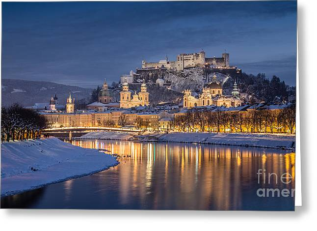 Salzburg Greeting Cards - Winter in Salzburg Greeting Card by JR Photography