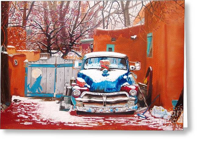 Junk Pastels Greeting Cards - Winter in Santa Fe Greeting Card by Jackie Massman