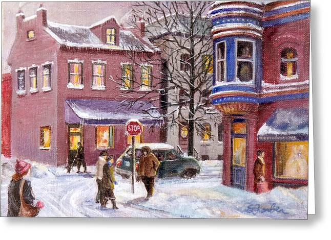 Snowy Evening Greeting Cards - Winter in Soulard Greeting Card by Edward Farber